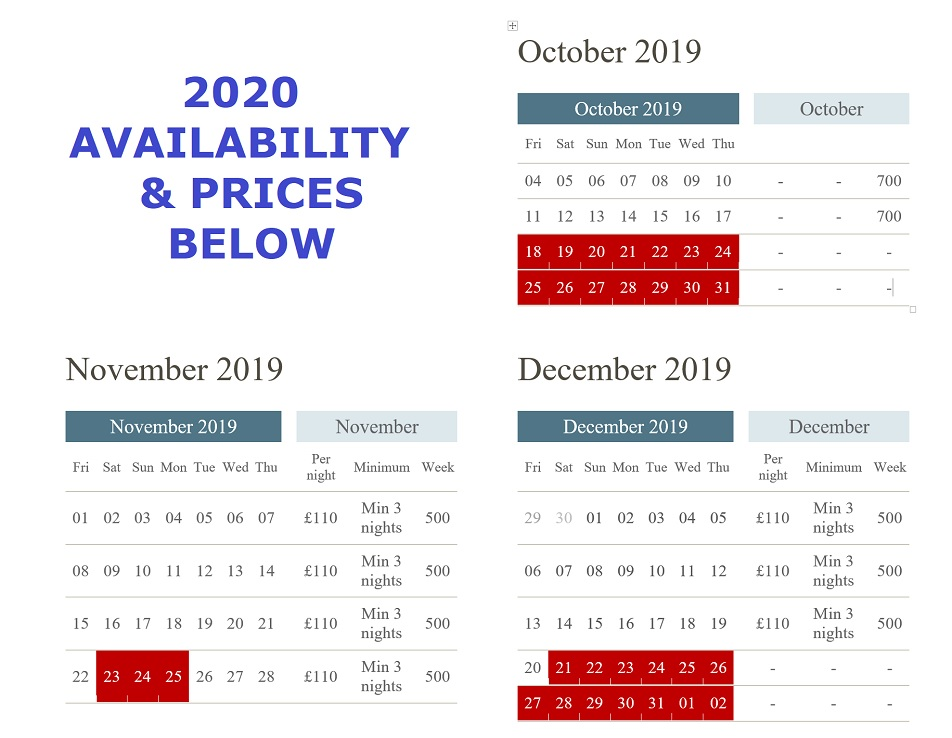 availability for Waterley September - December 2019