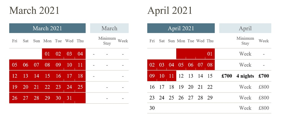 availability for Waterley from 12th April 2021